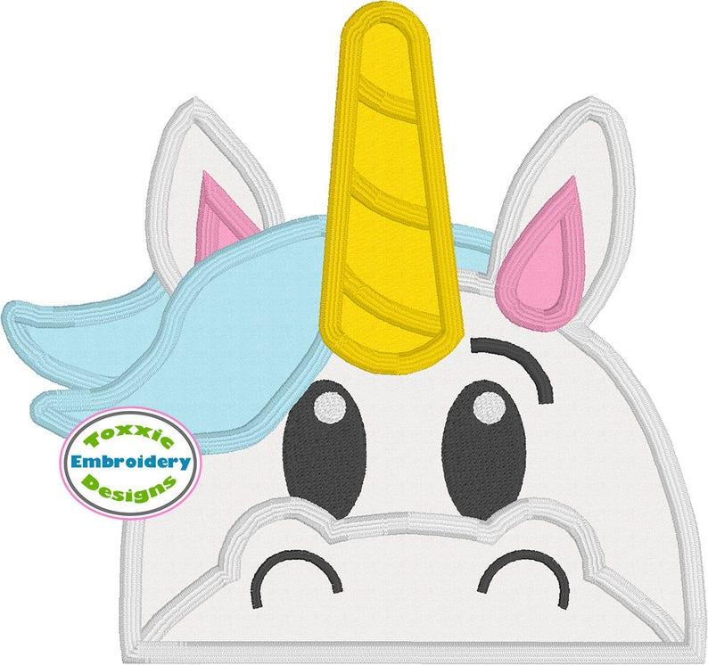 Unicorn Peeker Applique Design image 0