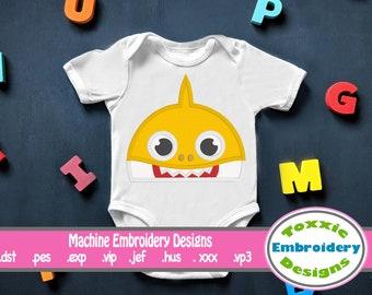 Little Shark Peeker Applique - Machine Embroidery