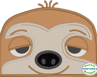 Sloth Peeker Applique Design
