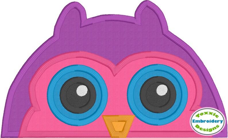 Owl Peeker Applique Machine Embroidery Design image 0