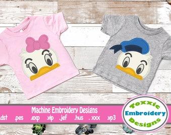 Mr & Mrs Duck Couple Machine Embroidery Peeker Design Set