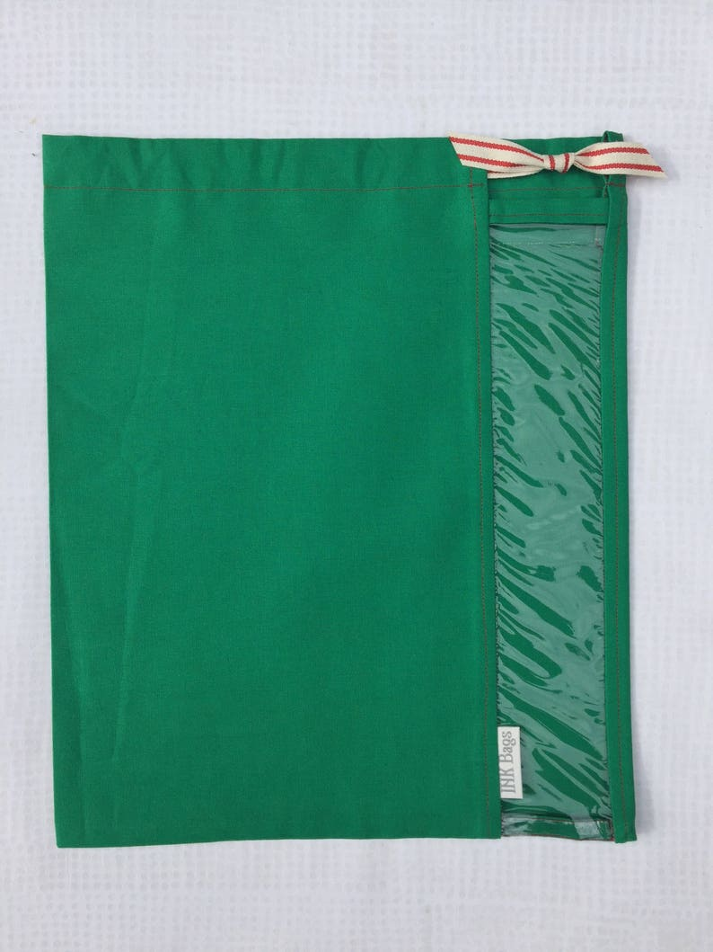 Christmas Green Peek-A-Boo INK Bag with Red Striped Ribbon