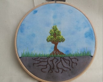 6inch Embroidery Hoop- Tree and Roots with Watercolour Background
