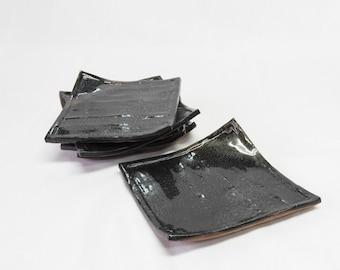 Ceramic plates Handmade ceramics Square plates Black Dinnerware Restaurant ware Curved & Square dessert plate | Etsy