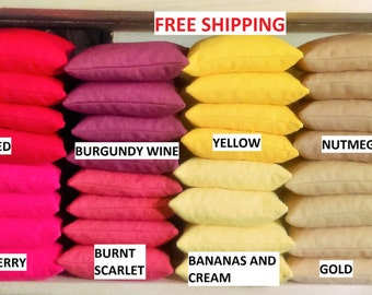 Set of 8 UNFILLED Corn Hole Bags    40+ Colors    Free Shipping      First Class Mail