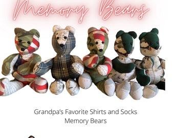 Memory Bear for baby - Bear for Newborn- Keepsake Bear - Legacy Bear - Memory Bear with photo - Made from dads shirt - Baby shower gift