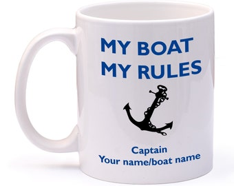 Personalised boat mug ideal Narrow Boat, Yacht, boat owner with your name or boat name