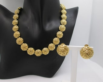 Vintage High End Costume Jewelry Genuine Signed Designer Piece NINA RICCI Necklace NOT Avon Gold Tone with Rhinestones and Faux Pearl