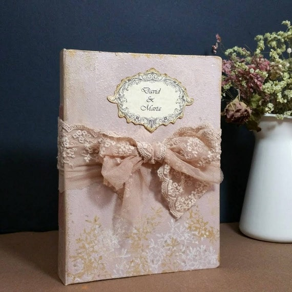 Romantic Wedding Guest Book Shabby Chic Guestbook Fairytale Wedding sign book personalized guest book rustic wedding Baby shower 8.5x6.5
