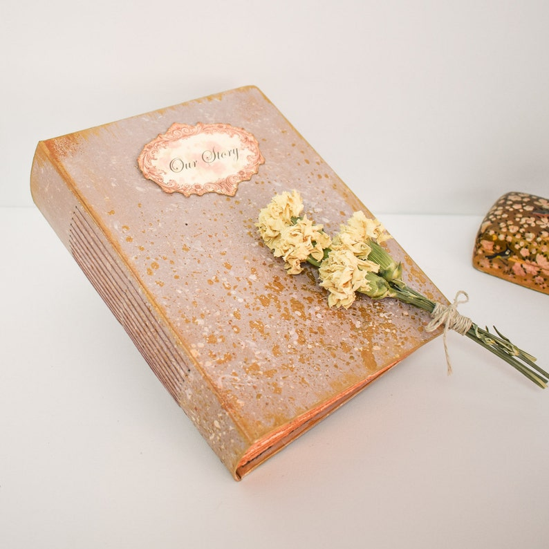 Photo Guestbook Album Wedding Guest Book Taupe and Gold Ready to Ship 8.5x6.5 inches
