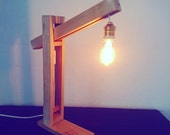 table lamp made from pallet wood with vintage lamp