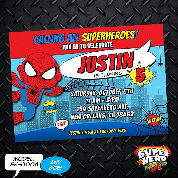 Spiderman Birthday Invitation Card Superhero Invitation Sh 0006