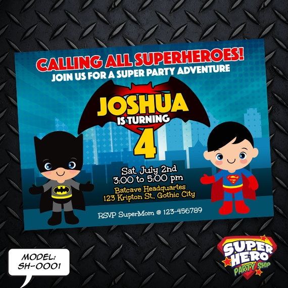 Batman Vs Superman Birthday Invitation Card Superhero Invitation Sh 0001