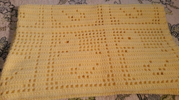 Duck Pattern Baby Blanket Filet Crochet