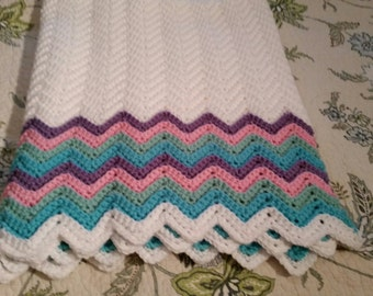 Double rainbow baby blanket