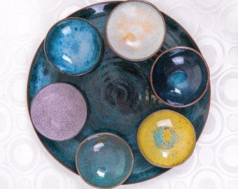 Round Rosh Hashanah Plate and Bowls Set | Rosh Hashanah Table | Ceramic Rosh Hashanah Set | Hostess Gift  | Mix and Match Set