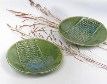 Small Ceramic Bowls - Green Ceramic Dipping Bowls - Set of 2 Prep Bowls - Ceramic Tapas Bowls