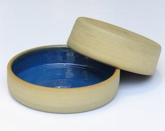 Set of 2 Serving Bowls, Blue Ceramic Bowls, Blue Ceramic Dish, Condiment Bowls, Ceramic Sauce Dish, Dipping Bowls, Ceramic Small Bowls