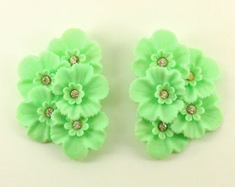 Big 2.5 inch Clip On Flower Earrings - Huge Aqua Green Rhinestone Flowers - Vintage Mad Men Estate Jewelry, Mid Century Statement Runway