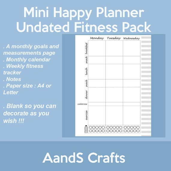 "The Happy Planner /""FITNESS/"" Undated MINI Planner VERTICAL Layout"