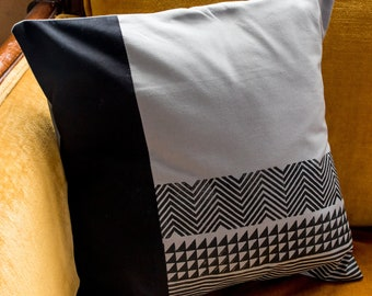 Color Blocked Gray and Black Geometric Pillow Cover