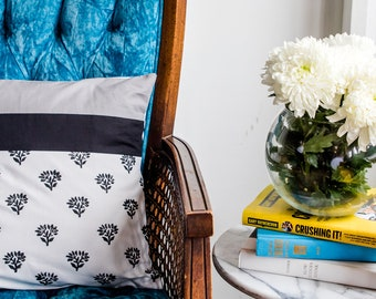 Color Blocked Gray and Black with Floral Print Pillow Cover