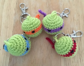 Crochet ninja turtle key rings