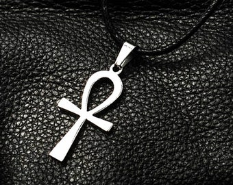 Leather Necklace , Mens Leather Necklace, Ankh Necklace, Egyptian Symbol,Egyptian Jewelry,Egyptian Necklace,Mens Ankh Necklace,Black Leather