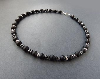 Agate Mens Necklace, Choker Men, Men's Matte Stone Necklace, Mens Gemstone Necklace, Mens Beaded Necklace, Mens Jewelry, Black Necklace Men