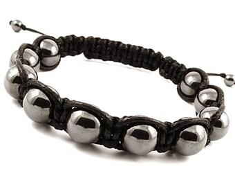 Shamballa Stone Bracelet, Men's Beaded Bracelet, Men's Hematite Bracelet, Hematite Bead Bracelet, Bracelets for Men, Shamballa Bracelet Mens