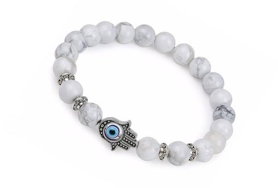 Mens Protection Hamsa Hand Lava Stone White Howlite Beaded Stretch Bracelet Yoga