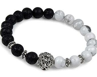 Men's Bracelet, Men's Jewelry, Gemstone Bracelet, Lion Stretch Bracelet, Beaded Bracelet, Lion Bracelet, Howlite Bracelet, Lava Bracelet