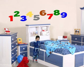 Number wall decals for kids, Playroom wall decals for kids, Vinyl decal, Children's wall decal, Wall stickers for kids