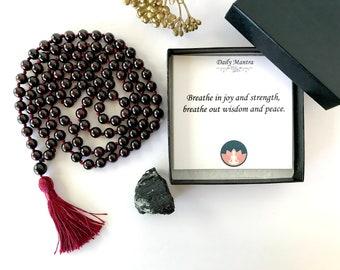 Red Garnet Rose Quartz Stretchy Bracelet natural beaded stone mala healing protection chakra balance meditation yoga Christmas gift 5318
