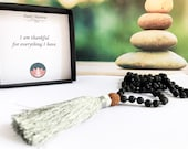 Lava Rock 108 Mala Bead Necklace, Hand Knotted Mala Necklace, Tassel Necklace, Mala Bead 108, Mantra Card Gift, Bohemian Jewelry, Meditation