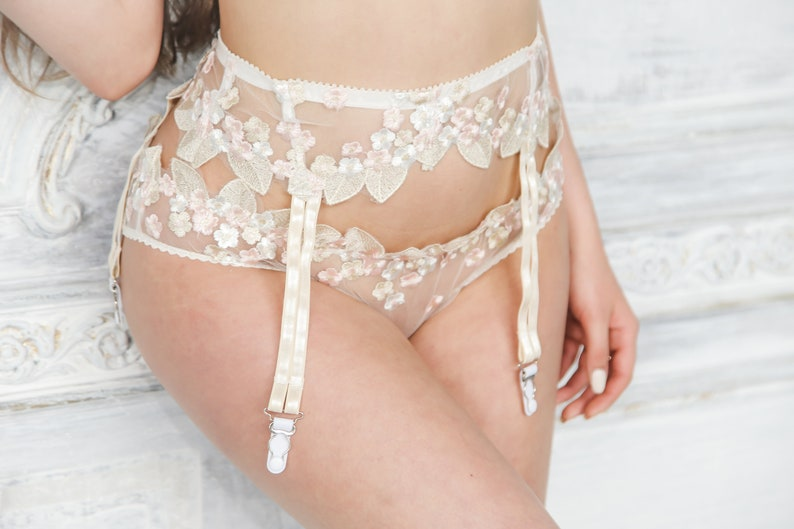 Lace Garter Belt Wedding Garter Belt Suspender Belt White