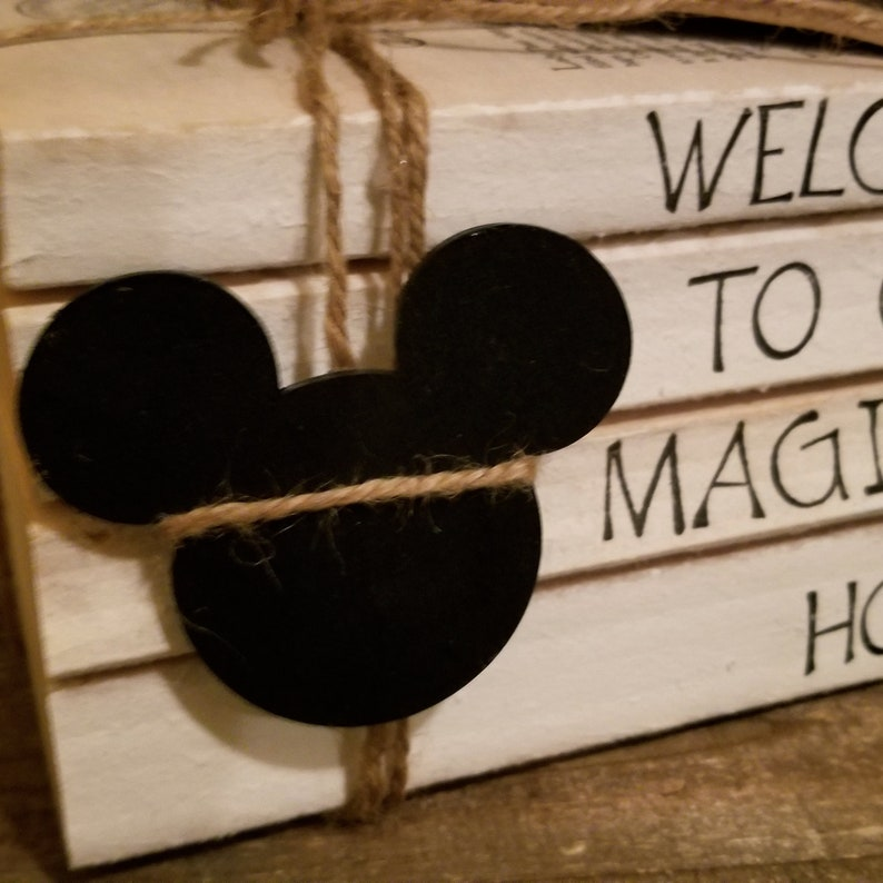 Disney inspired welcome to our magical home stamped book decor; disney house warming; disney home decor; disney tiered tray book decor