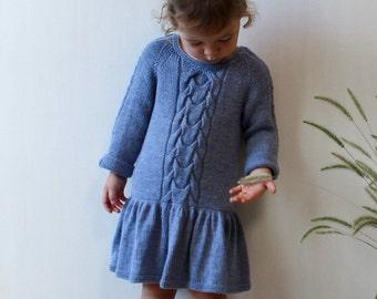 Knit girls dress / Knitted merino dress / Warm dress for girl