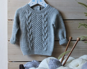 Cable knit baby sweater, gray hand knitted kids jumper, merino cardigan for children, organic baby clothes