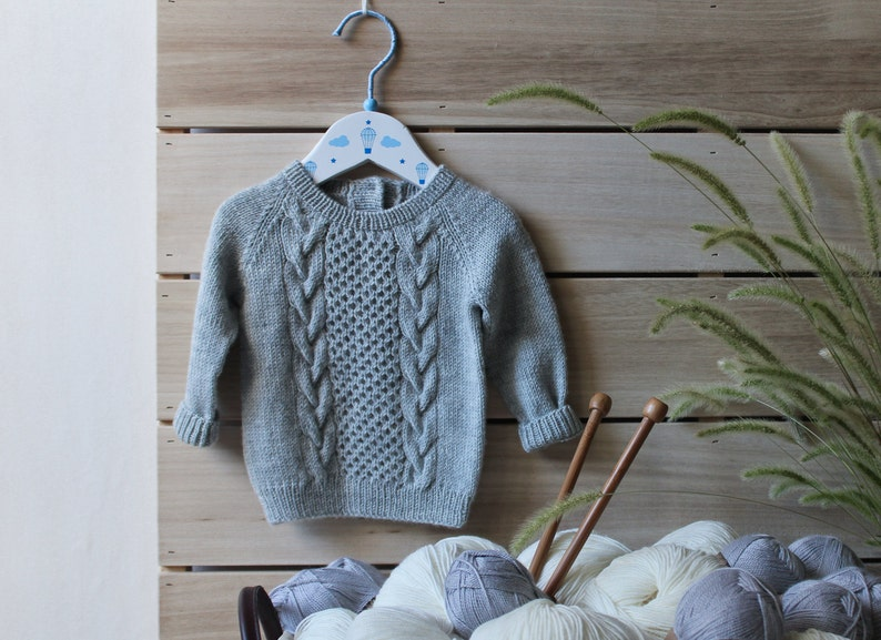 e1be0708a Cable knit baby sweater gray hand knitted kids jumper merino | Etsy