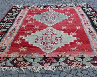 "Large Red Kilim Rug, 10.8""x8.4""Feet,330x255 cm,Large Kilim Rug,Decorative Anatolian Area Kilim Rug,Handmade Rug,Colorful Rug,Kilim Rug"