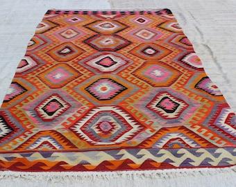 """Kilim Rug,9.6""""x5.8""""Feet,288x172 cm, Pink Kilim rug,Colorful Kilim Rug,Ethnic Kilim Rug,Vintage Kilim Rug,Home Living"""