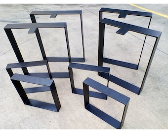 Hoop / box square metal table legs. Raw industrial look or Powdercoated. MADE TO ORDER Metal table legs, coffee hall bar dining table