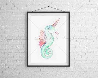Watercolor Printable - SeaUnicorn - DIGITAL - Handmade