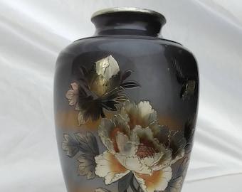 Chokin flower vase.Vintage Mid Century Modern Oriental Mixed Metal Chokin Vase with flowers and bird,