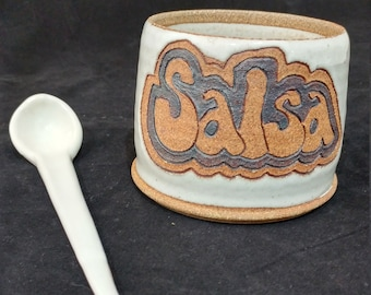 Hand made ceramic salsa dish with ceramic serving spoon