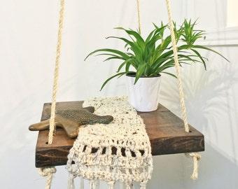 HANGING TABLE: hanging shelf / hammock table / plant shelf / roped table / floating shelf / hanging decor / small space / indoor / outdoor