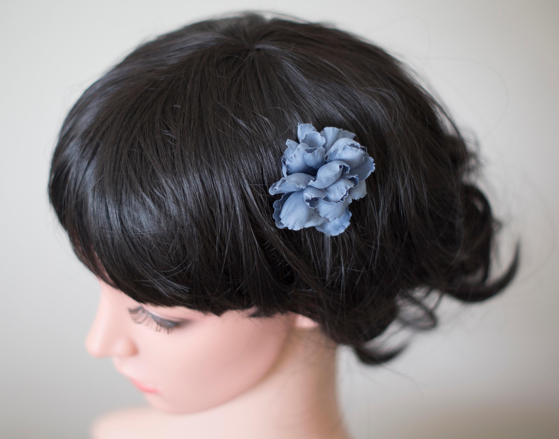 Blue Hair Flower Silk Hair Flower Blue Flower Hair Pin Etsy