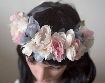 Flower crown | Bridal flower crown | Bridal headpiece | Silk flower hair crown | Spring flower crown | Easter flower crown