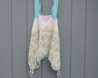 Upcycled tunic, upcycled top,repurposed clothing,shabby chic,lace,pink,blue,floral,romantic top,pinafore top,tunic,artsy clothing,floral